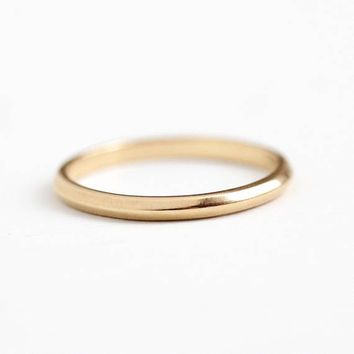 Vintage Wedding Band - 14k Rosy Yellow Gold Classic Plain Ring - Size 5 1/4 Minimalist Bridal Signed Artcarved J.R. Wood & Sons Fine Jewelry