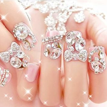 3D Rhinestones Nail Art Glitters Sticker Tips Manicure DIY Decorations New 10pcs
