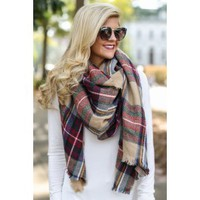 A Bit Chilly Tan Plaid Scarf