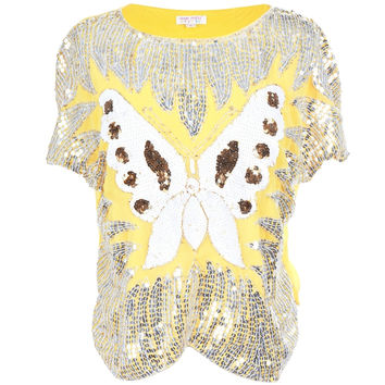 Butterfly Sequin Yellow Women's Dolman Blouse