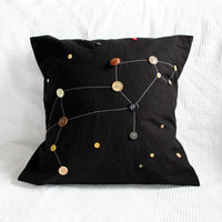 "leo zodiac constellation pillowcase -- 16"" x 16"" -- one of a kind"