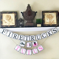 Gender Reveal Banner, Firetrucks or Tutus, Baby Shower Decorations, Gender Reveal Ideas, Black and Pink