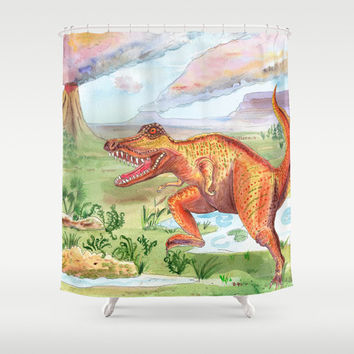 T-Rex Shower Curtain - Dinosaur, Tyrannosaurus Rex landscape, watercolor, cretaceous, jurassic colorful decor bathroom, zoo,