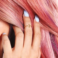DAINTY GOLD VERTICAL BAR KNUCKLE RING