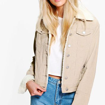 Sally Slim Fit Borg Collar Cord Jacket