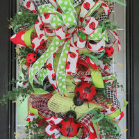 Summer Wreath, Door Swag, Summer Door Hanger, Front Door Wreath, Wreath for Door, Deco Mesh Wreath, Pre-Order
