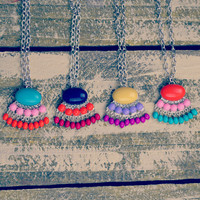 Pippa Fan Fringe Pendant Necklaces