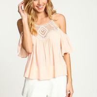 BLUSH CROCHET OFF SHOULDER CREPE TOP