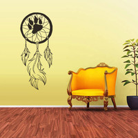 Wall Decal Vinyl Sticker Decals Dream Catcher Dreamcatcher Wolf footprint Bedroom (z1577)