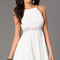 Short Lace Sleeveless A-Line Dress