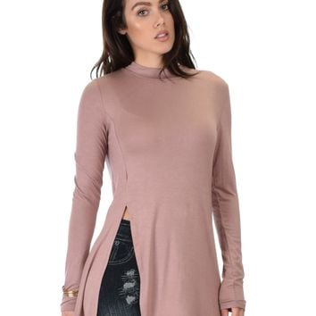 Lyss Loo Swap My Options Long Sleeve Slit Mauve Tunic Top