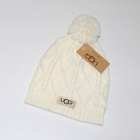 """UGG"" Women Embroidery Beanies Knit Hat Warm Woolen Hat"