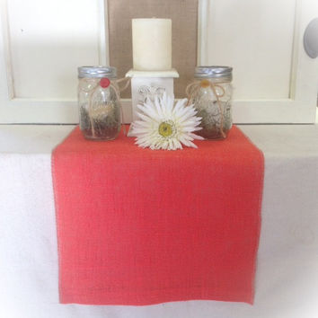 "Burlap Table Runner  in deep Coral burlap 12"", 14"", or 15""  width with FINISHED edges"