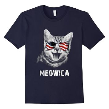 Meowica USA American Flag Cat T-Shirt Funny 4th Of July Gift