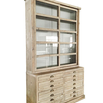 Alessa Gray Display Cabinet Hutch with Glass Sliding Doors s78451d