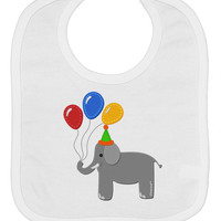 Cute Elephant with Balloons Baby Bib