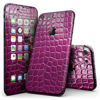 Bright Magenta Aligator Skin  - 4-Piece Skin Kit for the iPhone 7 or 7 Plus