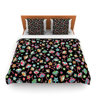 "Julia Grifol ""Sweet Flowers"" Multicolor Black Lightweight Duvet Cover"