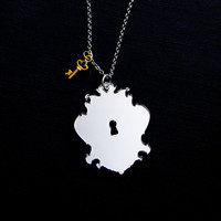 Key to My Heart Necklace - Lock and Key - Vintage Mirror Pendant
