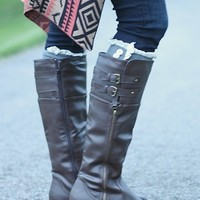 Double Buckle Brown Rider Boots