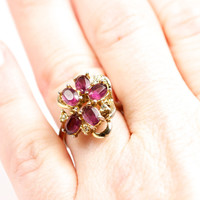 Amethyst 14k Gold Electroplate Cluster Ring by TwiceBakedVintage