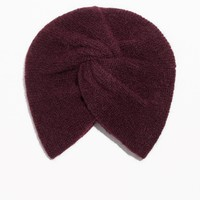 & Other Stories | Twist Beanie In Mohair Blend | Burgundy