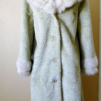 vintage faux fur coat. UNION made coat. full length coat. princess coat