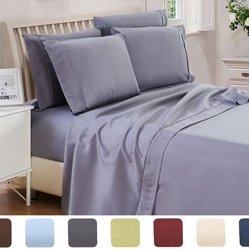 4 Piece Ultra Soft Bed Sheet Set Hotel Quality Egyptian with FREE 2 PILLOW CASES