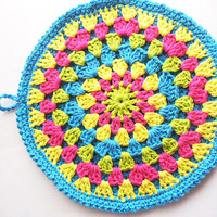 Bright Colorful Crocheted Cotton Hot Pad