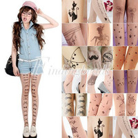 Trendy Sexy Tattoo Pattern Temptation Sheer Pantyhose Tights