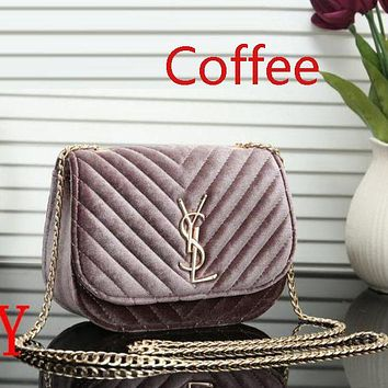 YSL Women New Fashion Velvet Leather Chain Satchel Shopping Handbag Crossbody Bag Shoulder bag