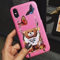 Moschino swing bear eyes red lips iPhone XS Max phone case leather hard shell 4