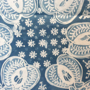 Organic Dye Indigo Handwritten Batik Fabric, Indonesian Batik Fabric, Cotton, Indigo Blue Batik Fabric, For Clothing, Sewing, Sarong, Dress