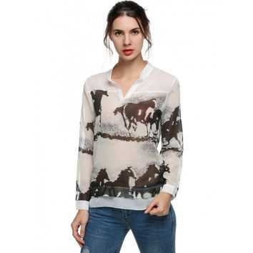 New Fashion Women Vintage Horse Ink Painting Blouses Long Sleeve Collar Shirt Casual Slim V Brand Designer Tops