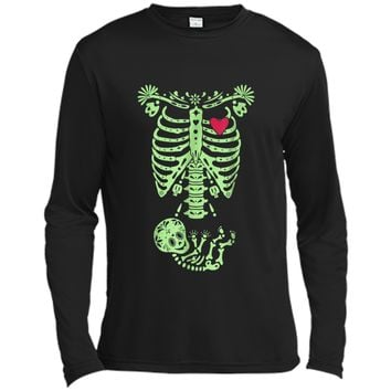 Pregnancy Halloween Costume Mexican Day Of The Dead  Long Sleeve Moisture Absorbing Shirt
