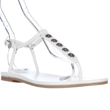 Cole Haan Effie Studded T-Strap Flat Sandals - White