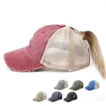 Adjustable Ponytail Snapback Mesh Cap
