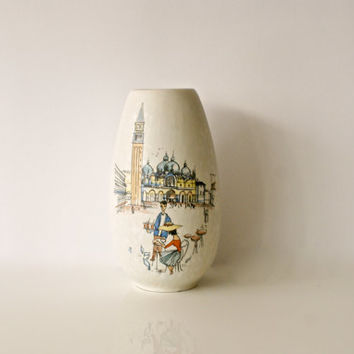 WEST GERMAN POTTERY Vase, Jasba Keramik 101/22, Scene of Piazza San Marco, Venice, Italy, Made in Germany, White Cream Glaze