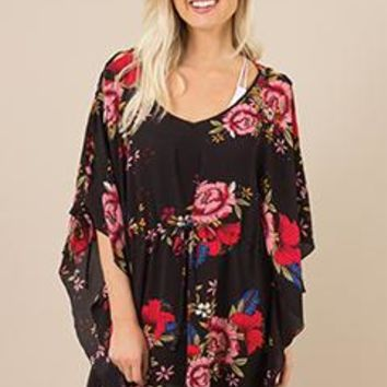 Blossom Babe Coverup In Black By Simply Noelle S/M