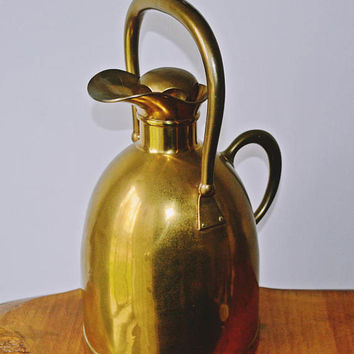Vintage Large Brass Pitcher, Brass Water Jug, Brass And Glass Carafe