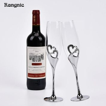Perfect 1 Pair Silver Heart Shaped Crystal Cup Red Wine Glasses