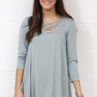 Criss + Cross Weave 3/4 Sleeve Top {Dusty Blue}