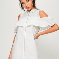 Missguided - White Ruffle Front Zip Dress