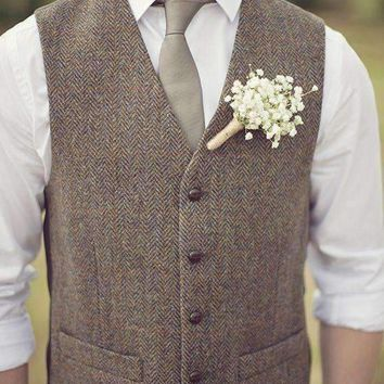 Wool Tweed Vest Mens Suit