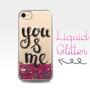 You and Me Quote Typography Cute Love Tumblr Liquid Glitter Sparkle Clear Case iPhone 6 Plus + iPhone 6s iPhone SE iPhone 7 iPhone 7 Plus