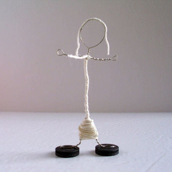 Wire Stick Person Magnet Art Office Art by JMcnallyDesigns