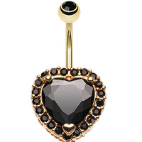 Extravagant Heart Glass-Gem Belly Button Ring