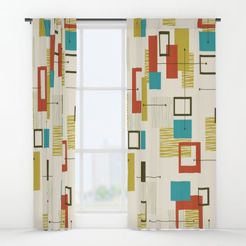 Mid Century Modern, Sputnik Pattern Window Curtains by themorganway