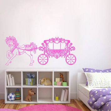 ik393 Wall Decal Sticker horse carriage Cinderella princess fairytale magic
