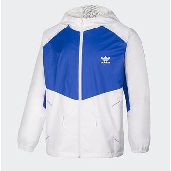 Adidas Hooded Zipper Cardigan Jacket Coat Sport Windbreaker Sportswear (Two Side Wear Reversible) Blue/White